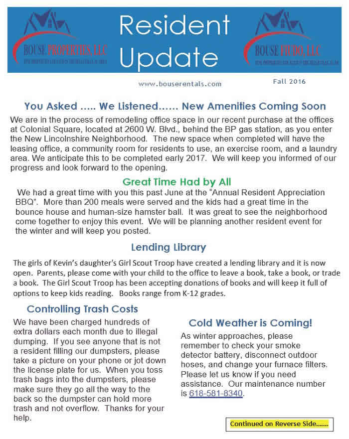 Bouse Properties LLC Newsletter Fall 2015