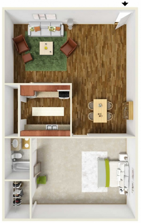 1 bedroom floor plan in Belleville IL