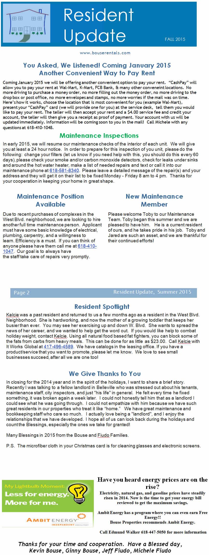 Bouse Properties LLC Newsletter Fall 2015