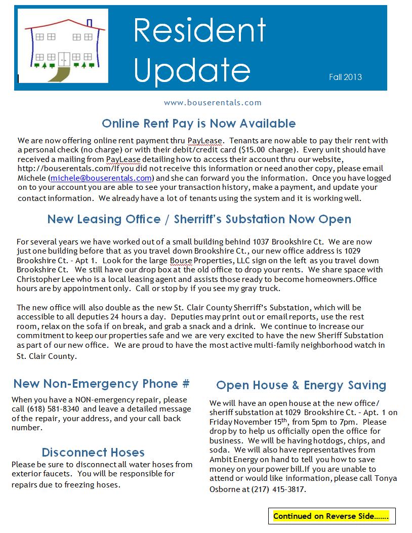 Bouse Properties LLC Newsletter Fall 2013