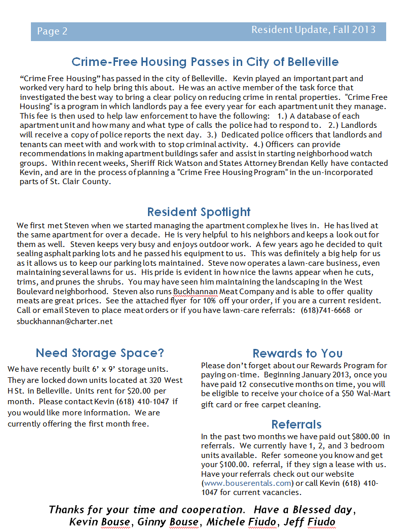 Bouse Properties LLC Newsletter Fall 2013